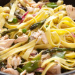 Pasta Primavera with Poached Salmon — Stock Photo