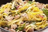 Pasta Primavera with Poached Salmon — Stock Photo