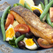 Salmon Salad Nicoise — Stock Photo