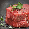 Raw Beef Steaks with Herbs and Spices — Stock Photo