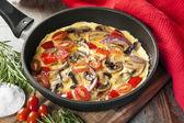 Vegetable Omelet in Skillet — Stock Photo