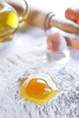 Flour Eggs Olive Oil and Rolling Pin — Stock Photo