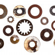 Stock Photo: Collection of Old Rusty Washers Isolated