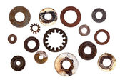 Collection of Old Rusty Washers Isolated — Stock Photo