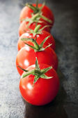 Row of Truss Tomatoes on Slate — Stock Photo
