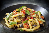 Eggplant Chilli and Tomato Pasta — Stock Photo