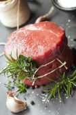 Raw Beef Fillet Steak with Herbs — Stock Photo