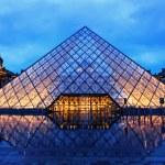 ������, ������: Louvre Pyramid on Rainy Night