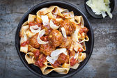 Meatballs with Pappardelle Pasta — Stock Photo