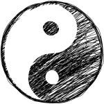 Doodle yin-yang symbol — Stock Vector #13351978