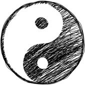 Doodle yin-yang symbol — Stock Vector