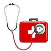 Stethoscope and First Aid Kit — Cтоковый вектор