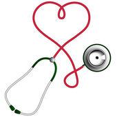 Heart shape stethoscope. Cardiology concept. — Stock Vector