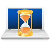 Hourglass on laptop. Time icon. — Vector de stock
