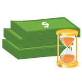 Time is money concept. Money icon — 图库矢量图片