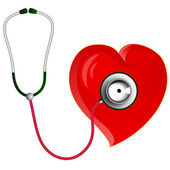 Red heart with Stethoscope — Stock Vector