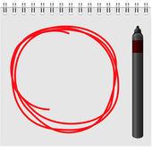 Notizblock mit roter markierung im textfeld — Stockvektor