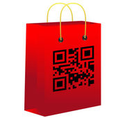Red shopping bar with qr code — Stock Vector