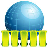 Earth globe with garbage bin,concept of environment pollution — Stock Vector