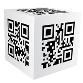 Cube with qr code — Stock Vector