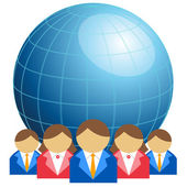 Business men and women with globe — Stock Vector