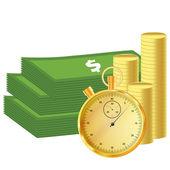 Dinheiro e cronômetro — Vetor de Stock