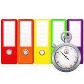 Binders and stopwatch — Stock Vector