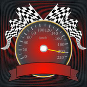 Speedometer with checkered flags and banner — Stock Vector