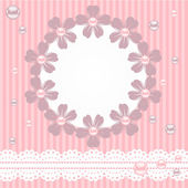 Pink card with pearls, lace and flowers — Stock Vector