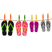Family flip flops with rope and clothespins — Stock Vector