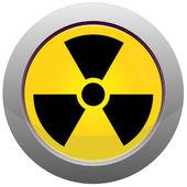 Botón con el símbolo de radiación — Vector de stock