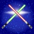 Crossed light sabers. — Stock Vector