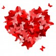 Red heart with butterflies for Valentine's day. Love concept — Stock Vector