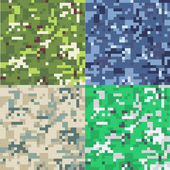 Set of camouflage military background in pixel style. Seamless pattern. — Stock Vector