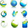 Stock Vector: Nature and water symbols