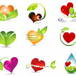 Heart and nature symbols — Stockvectorbeeld