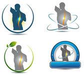 Human back, spine healthcare symbols — Stock Vector