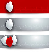 Heart and cardiogram banner — Stock Vector