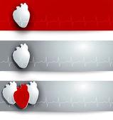 Heart and cardiogram banner — Stockvektor