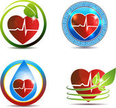Heart and cardiogram symbols — Stock Vector