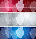 Heart and cardiogram banners — Stock Vector
