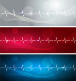 Cardiogram banners — Stok Vektör