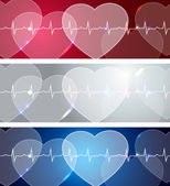 Heart and heart beats — Stock Vector