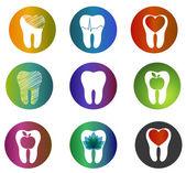 Huge collection beautiful dental symbols — Stock Vector