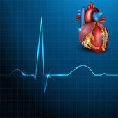 Human heart rhythm on a beautiful blue background with light sha — Stock Vector