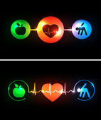 Cardiology health care symbols connected with heart beat rhythm — Stock Vector