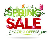 Spring sale, amazing offers message on a white background — Stock Vector