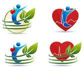 Símbolos de cuidados de saúde humanos, conceito coração saudável — Vetorial Stock