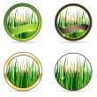 Nature and grass icon set — Stock Vector