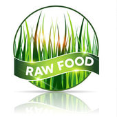 Raw food icon, beautiful grass illustration in round shape — Stock Vector